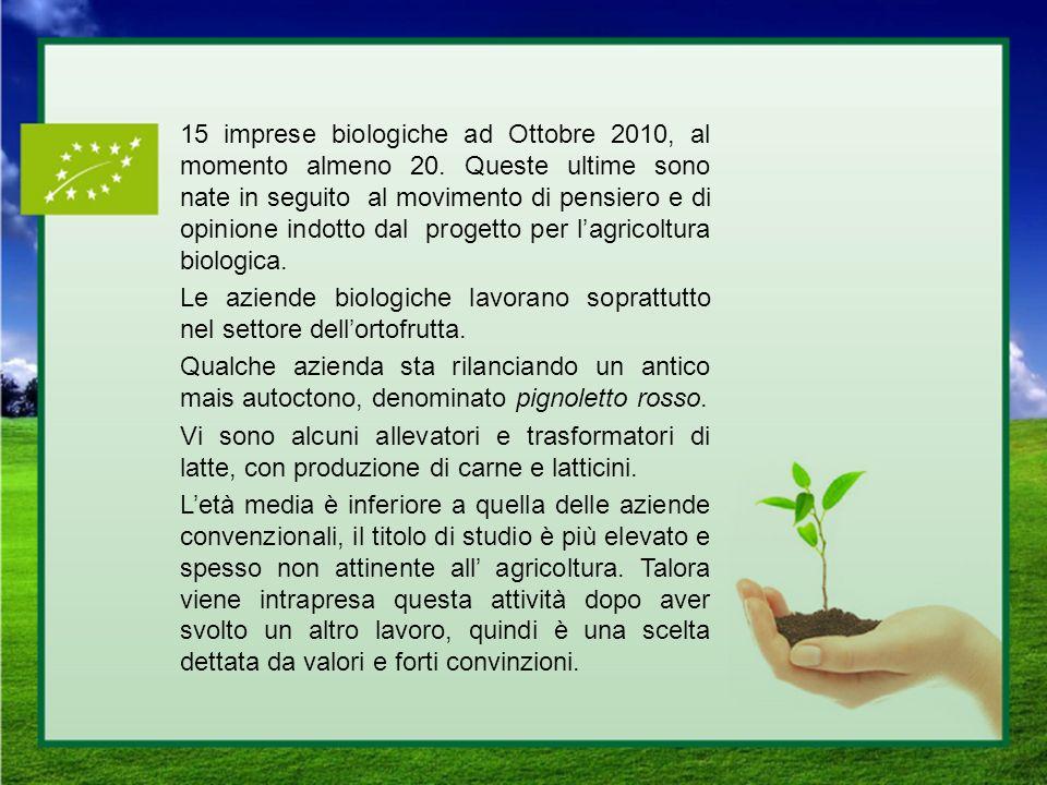 15 imprese biologiche ad Ottobre 2010, al momento almeno 20. Queste ultime sono nate in seguito al movimento di pensiero e di opinione indotto dal pro