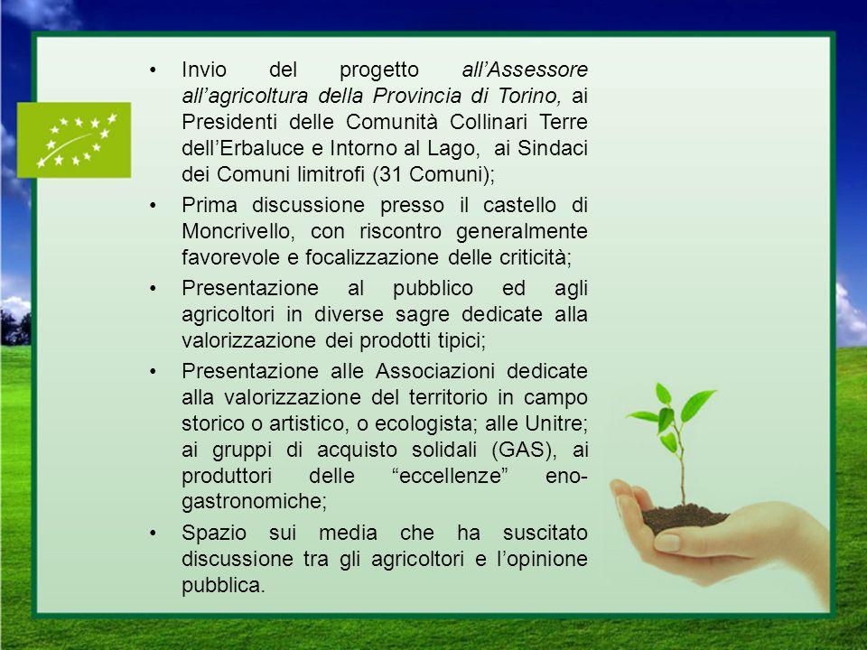 Invio del progetto allAssessore allagricoltura della Provincia di Torino, ai Presidenti delle Comunità Collinari Terre dellErbaluce e Intorno al Lago,