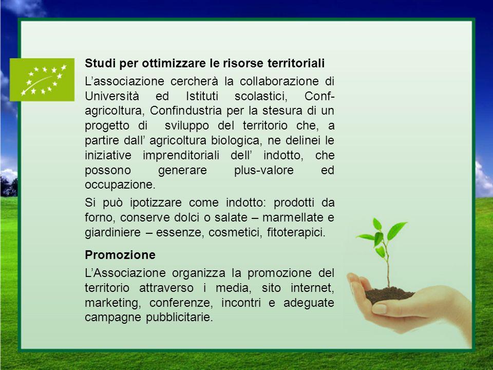 Studi per ottimizzare le risorse territoriali Lassociazione cercherà la collaborazione di Università ed Istituti scolastici, Conf- agricoltura, Confin