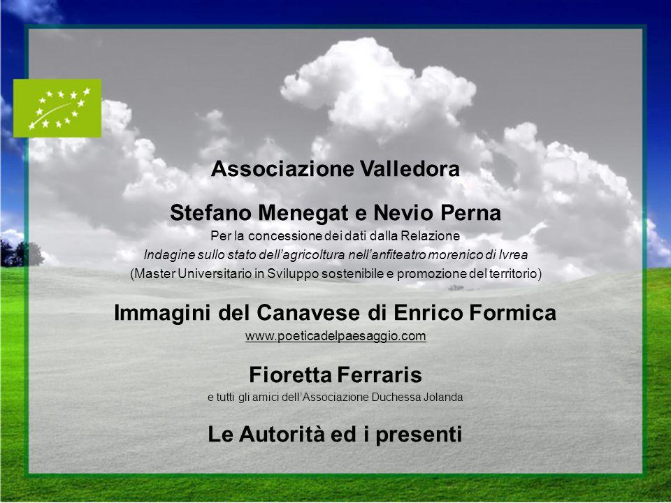Associazione Valledora Stefano Menegat e Nevio Perna Per la concessione dei dati dalla Relazione Indagine sullo stato dellagricoltura nellanfiteatro m