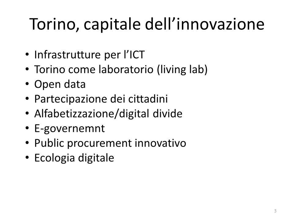 Torino, capitale dellinnovazione Infrastrutture per lICT Torino come laboratorio (living lab) Open data Partecipazione dei cittadini Alfabetizzazione/digital divide E-governemnt Public procurement innovativo Ecologia digitale 3