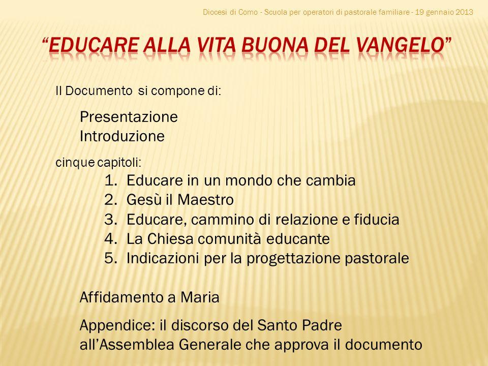 Diocesi di Como - Scuola per operatori di pastorale familiare - 19 gennaio 2013 Il Documento si compone di: Presentazione Introduzione cinque capitoli