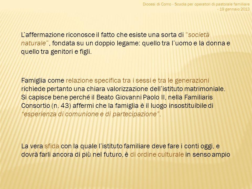 Diocesi di Como - Scuola per operatori di pastorale familiare - 19 gennaio 2013 Laffermazione riconosce il fatto che esiste una sorta di società natur
