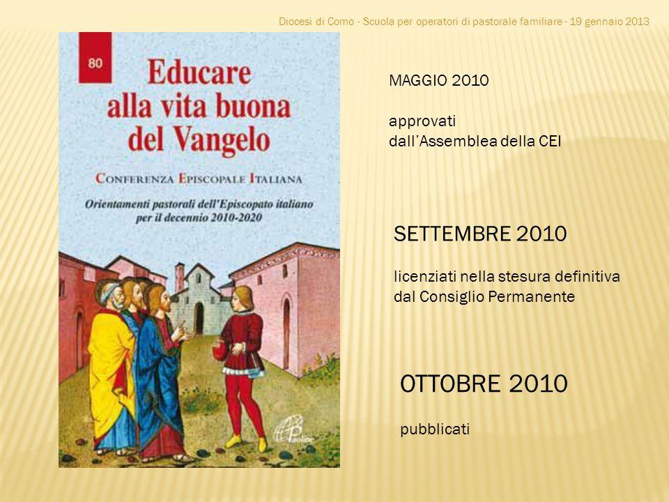 MAGGIO 2010 approvati dallAssemblea della CEI SETTEMBRE 2010 licenziati nella stesura definitiva dal Consiglio Permanente OTTOBRE 2010 pubblicati