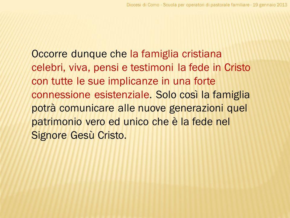 Diocesi di Como - Scuola per operatori di pastorale familiare - 19 gennaio 2013 Occorre dunque che la famiglia cristiana celebri, viva, pensi e testim