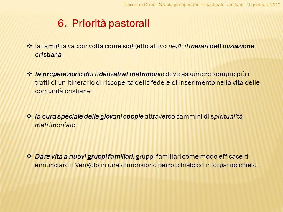 Diocesi di Como - Scuola per operatori di pastorale familiare - 19 gennaio 2013 6. Priorità pastorali la famiglia va coinvolta come soggetto attivo ne