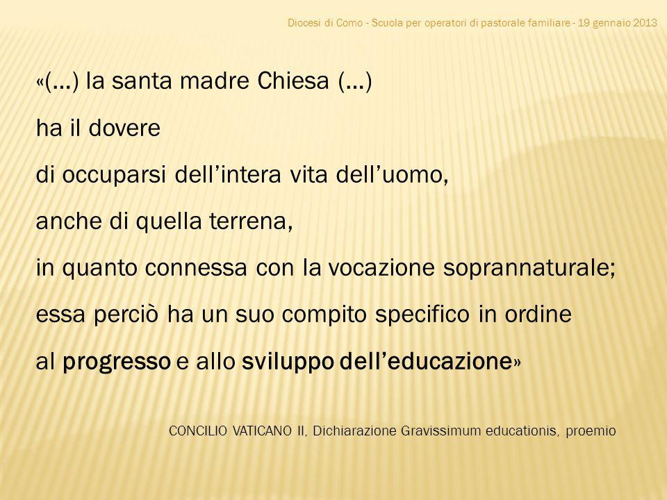 Diocesi di Como - Scuola per operatori di pastorale familiare - 19 gennaio 2013 «(…) la santa madre Chiesa (…) ha il dovere di occuparsi dellintera vi