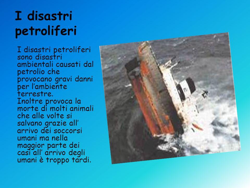 I disastri petroliferi I disastri petroliferi sono disastri ambientali causati dal petrolio che provocano gravi danni per lambiente terrestre. Inoltre