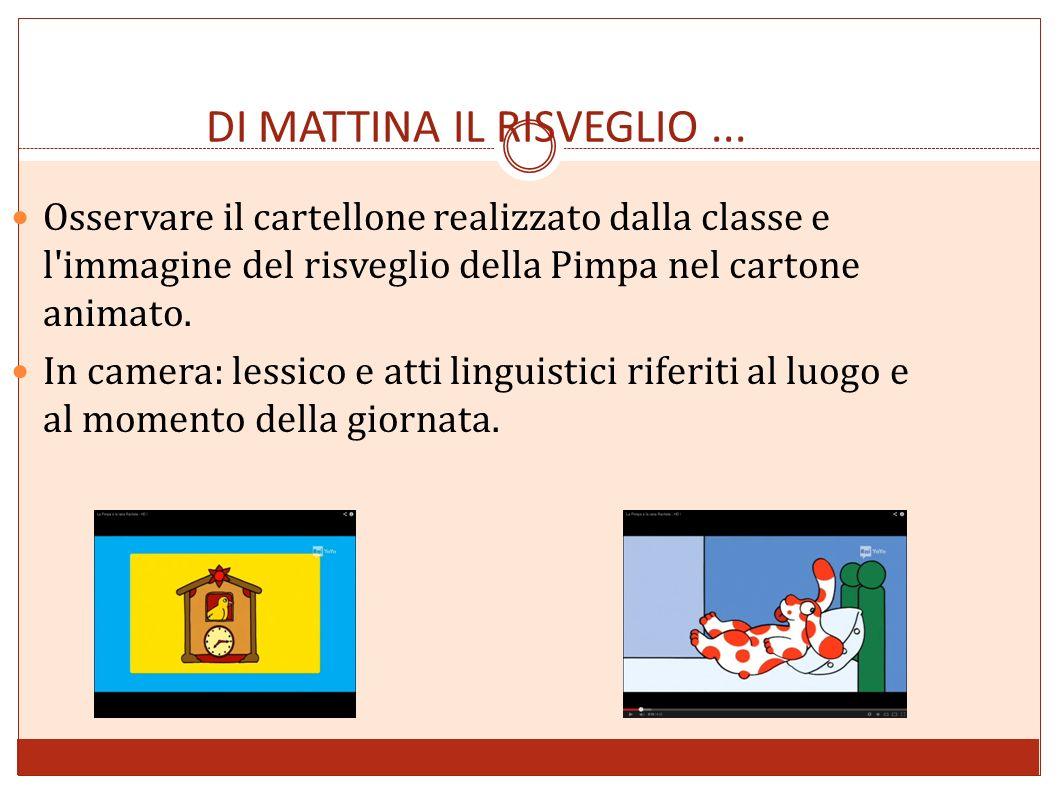 DI MATTINA IL RISVEGLIO... Osservare il cartellone realizzato dalla classe e l'immagine del risveglio della Pimpa nel cartone animato. In camera: less