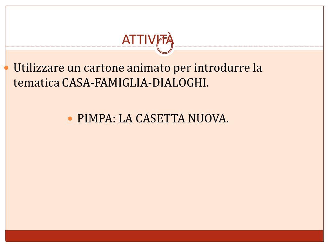 ATTIVITÀ Utilizzare un cartone animato per introdurre la tematica CASA-FAMIGLIA-DIALOGHI. PIMPA: LA CASETTA NUOVA.