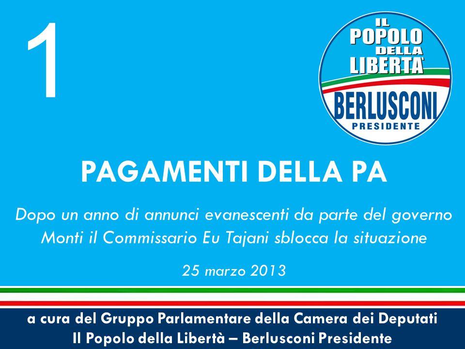 a cura del Gruppo Parlamentare della Camera dei Deputati Il Popolo della Libertà – Berlusconi Presidente PAGAMENTI DELLA PA Dopo un anno di annunci evanescenti da parte del governo Monti il Commissario Eu Tajani sblocca la situazione 25 marzo 2013 1