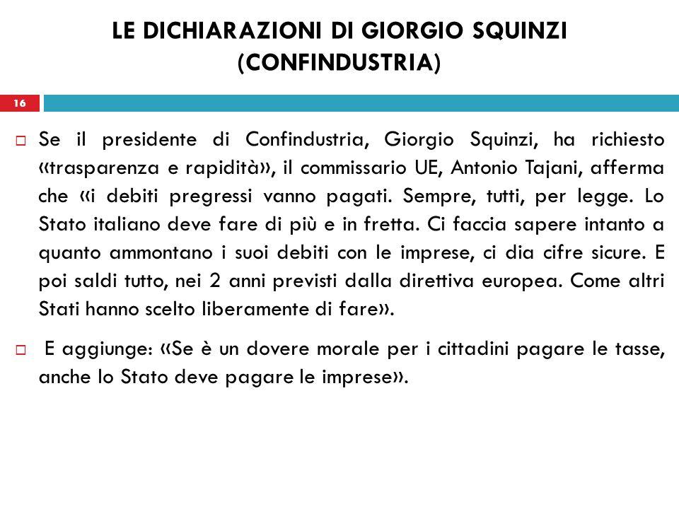 16 LE DICHIARAZIONI DI GIORGIO SQUINZI (CONFINDUSTRIA) Se il presidente di Confindustria, Giorgio Squinzi, ha richiesto «trasparenza e rapidità», il commissario UE, Antonio Tajani, afferma che «i debiti pregressi vanno pagati.