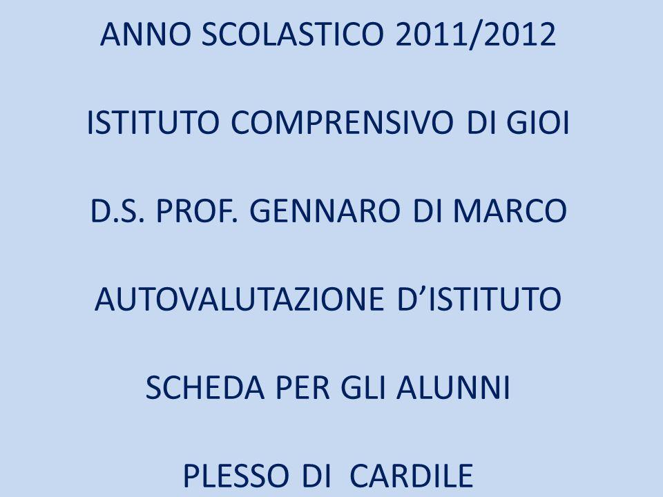 ANNO SCOLASTICO 2011/2012 ISTITUTO COMPRENSIVO DI GIOI D.S.