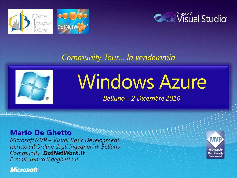 Windows Azure Community Tour… la vendemmia Mario De Ghetto Microsoft MVP – Visual Basic Development Iscritto allOrdine degli Ingegneri di Belluno Comm