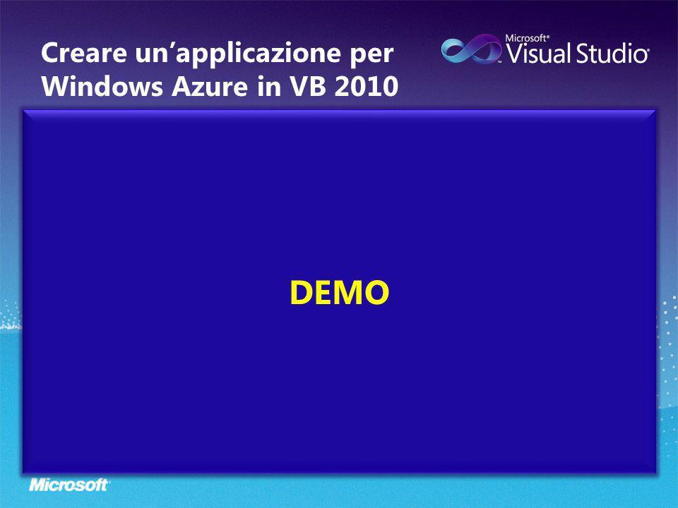 DEMO Creare unapplicazione per Windows Azure in VB 2010