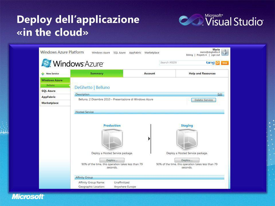 Deploy dellapplicazione «in the cloud»