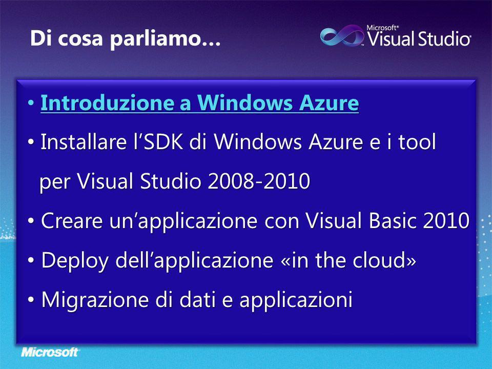Di cosa parliamo… Introduzione a Windows Azure Introduzione a Windows Azure Installare lSDK di Windows Azure e i tool per Visual Studio 2008-2010 Installare lSDK di Windows Azure e i tool per Visual Studio 2008-2010 Creare unapplicazione con Visual Basic 2010 Creare unapplicazione con Visual Basic 2010 Deploy dellapplicazione «in the cloud» Deploy dellapplicazione «in the cloud» Migrazione di dati e applicazioni Migrazione di dati e applicazioni