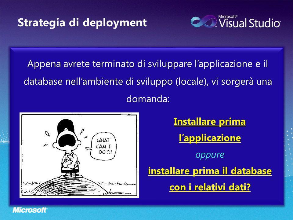 Strategia di deployment Appena avrete terminato di sviluppare lapplicazione e il database nellambiente di sviluppo (locale), vi sorgerà una domanda: I