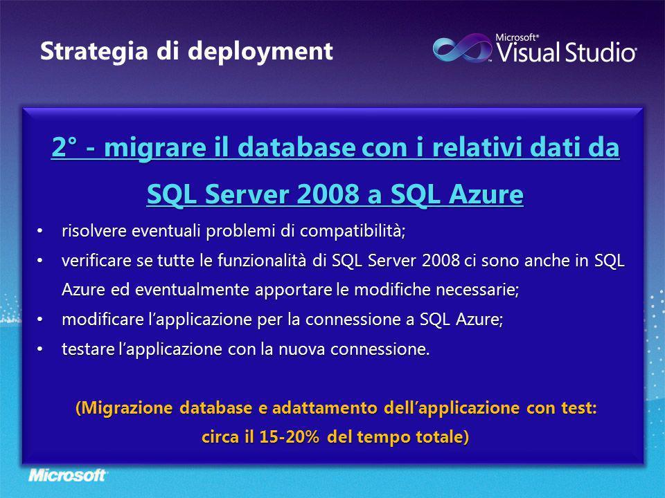 Strategia di deployment 2° - migrare il database con i relativi dati da SQL Server 2008 a SQL Azure risolvere eventuali problemi di compatibilità; risolvere eventuali problemi di compatibilità; verificare se tutte le funzionalità di SQL Server 2008 ci sono anche in SQL Azure ed eventualmente apportare le modifiche necessarie; verificare se tutte le funzionalità di SQL Server 2008 ci sono anche in SQL Azure ed eventualmente apportare le modifiche necessarie; modificare lapplicazione per la connessione a SQL Azure; modificare lapplicazione per la connessione a SQL Azure; testare lapplicazione con la nuova connessione.