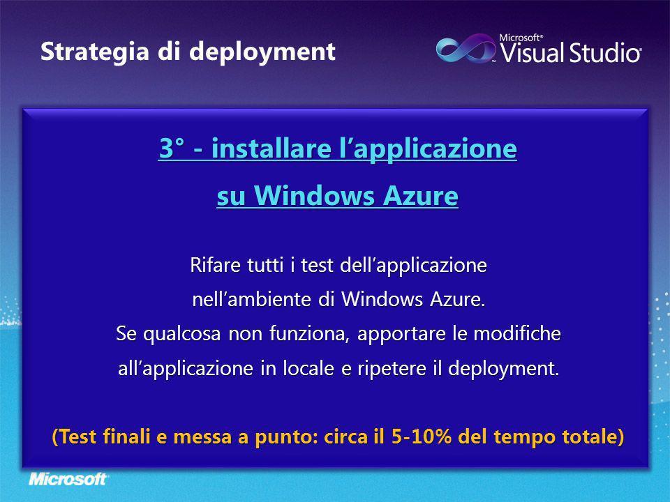 Strategia di deployment 3° - installare lapplicazione su Windows Azure Rifare tutti i test dellapplicazione nellambiente di Windows Azure. Se qualcosa