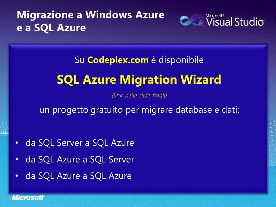 Migrazione a Windows Azure e a SQL Azure Su Codeplex.com è disponibile SQL Azure Migration Wizard (link nelle slide finali) un progetto gratuito per m