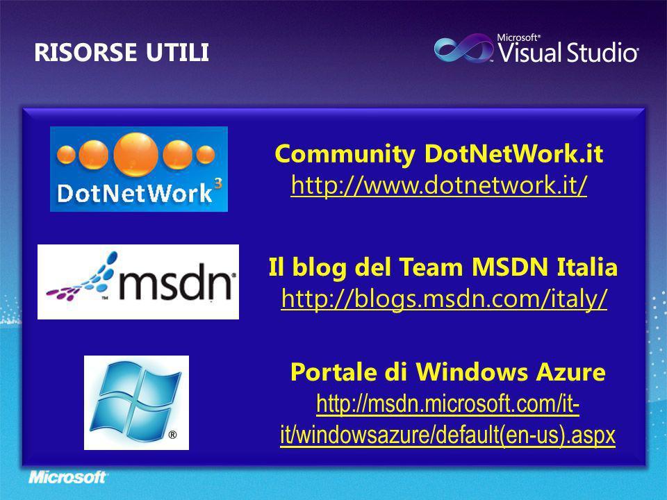 Community DotNetWork.it http://www.dotnetwork.it/ Il blog del Team MSDN Italia http://blogs.msdn.com/italy/ Portale di Windows Azure http://msdn.micro
