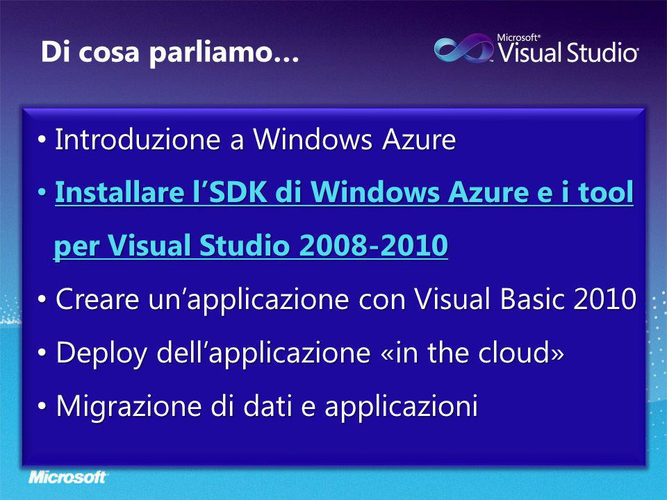 Di cosa parliamo… Introduzione a Windows Azure Installare lSDK di Windows Azure e i tool per Visual Studio 2008-2010 Installare lSDK di Windows Azure e i tool per Visual Studio 2008-2010 Creare unapplicazione con Visual Basic 2010 Creare unapplicazione con Visual Basic 2010 Deploy dellapplicazione «in the cloud» Deploy dellapplicazione «in the cloud» Migrazione di dati e applicazioni Migrazione di dati e applicazioni