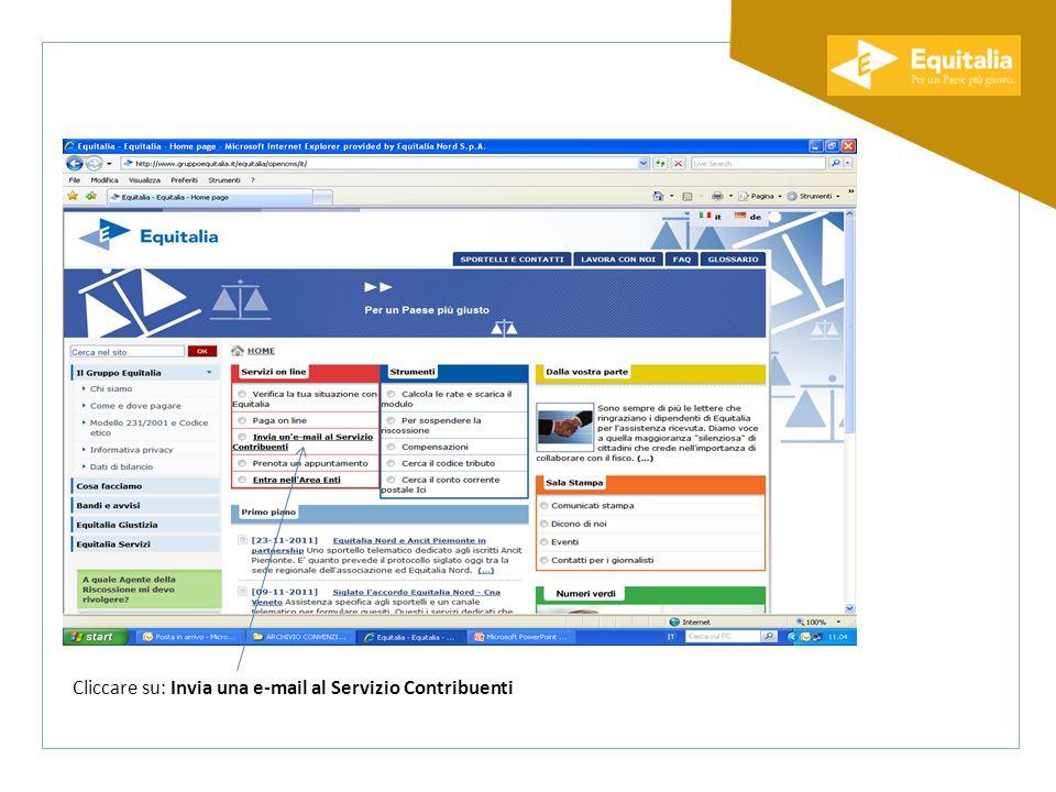 Cliccare su: Invia una e-mail al Servizio Contribuenti