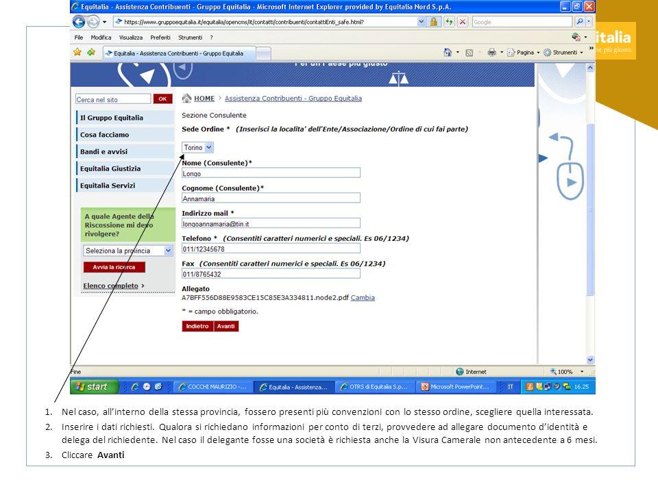 1.Una volta controllata lesattezza dei dati cliccare Invia