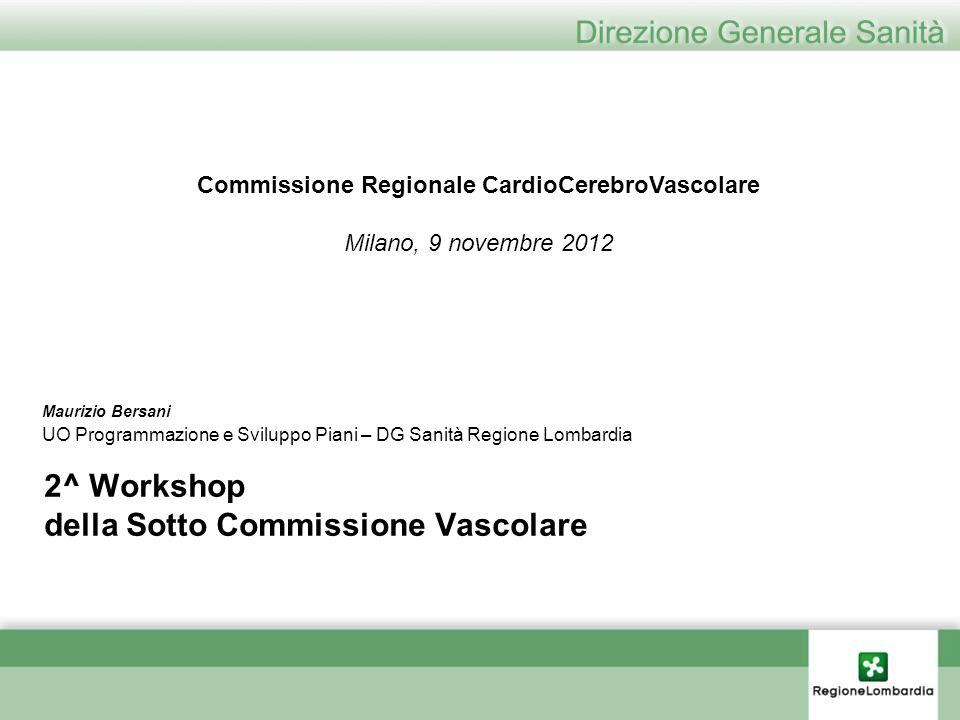2^ Workshop della Sotto Commissione Vascolare Maurizio Bersani UO Programmazione e Sviluppo Piani – DG Sanità Regione Lombardia Commissione Regionale
