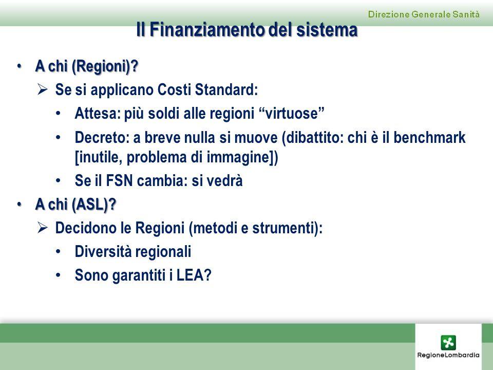 Il Finanziamento del sistema A chi (Regioni)? A chi (Regioni)? Se si applicano Costi Standard: Attesa: più soldi alle regioni virtuose Decreto: a brev