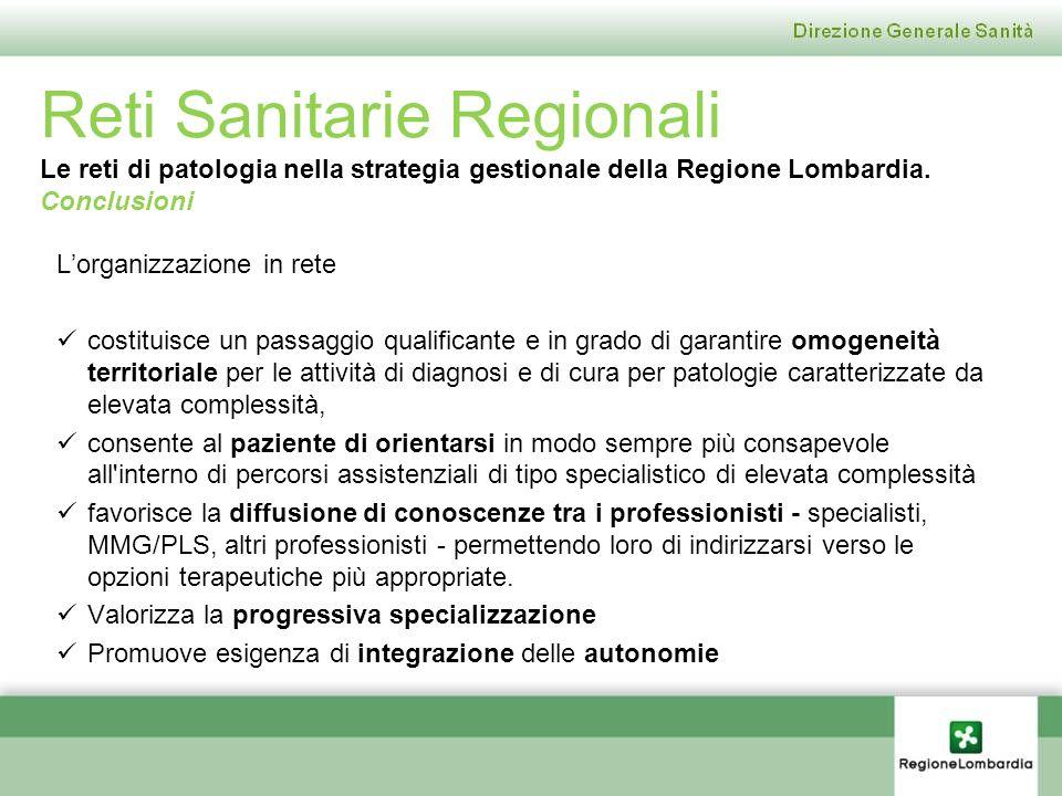 Reti Sanitarie Regionali Le reti di patologia nella strategia gestionale della Regione Lombardia. Conclusioni Lorganizzazione in rete costituisce un p