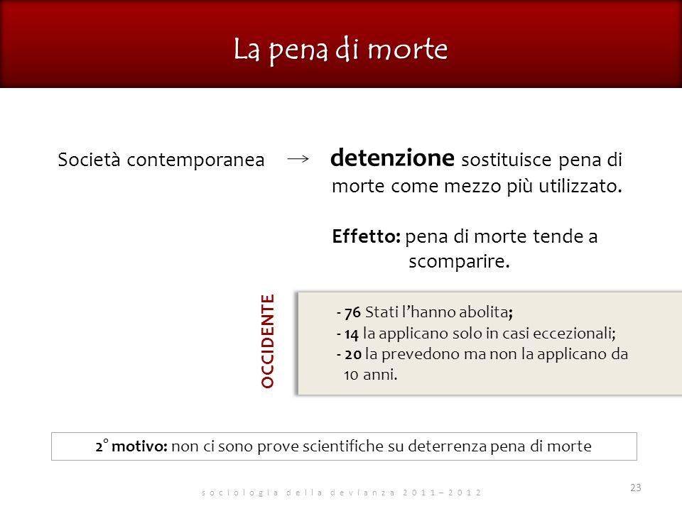 s o c i o l o g i a d e l l a d e v i a n z a 2 0 1 1 – 2 0 1 2 23 Società contemporanea detenzione sostituisce pena di morte come mezzo più utilizzato.