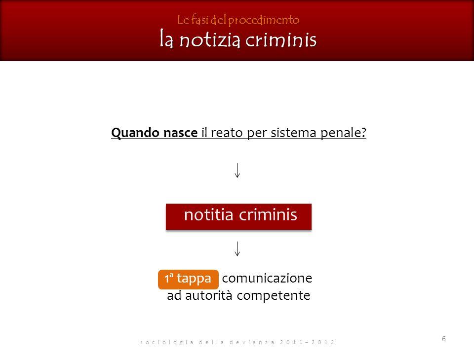 Le fasi del procedimento la notizia criminis s o c i o l o g i a d e l l a d e v i a n z a 2 0 1 1 – 2 0 1 2 Quando nasce il reato per sistema penale.