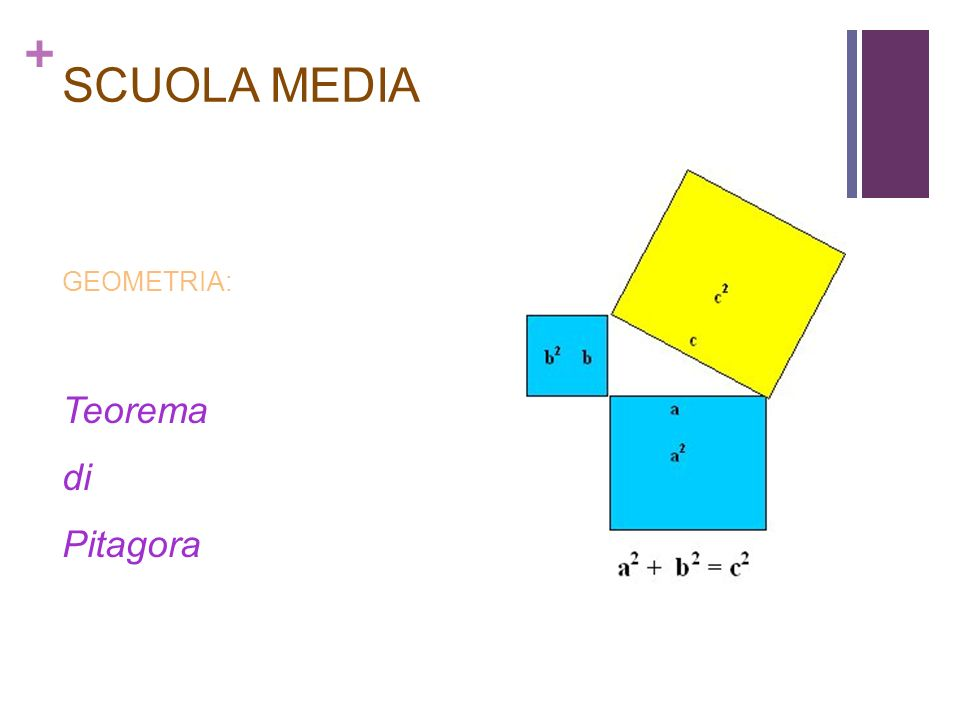 + SCUOLA MEDIA GEOMETRIA: Teorema di Pitagora