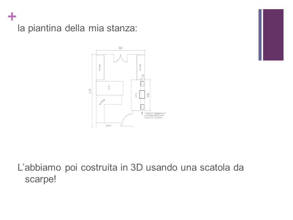 + la piantina della mia stanza: Labbiamo poi costruita in 3D usando una scatola da scarpe!