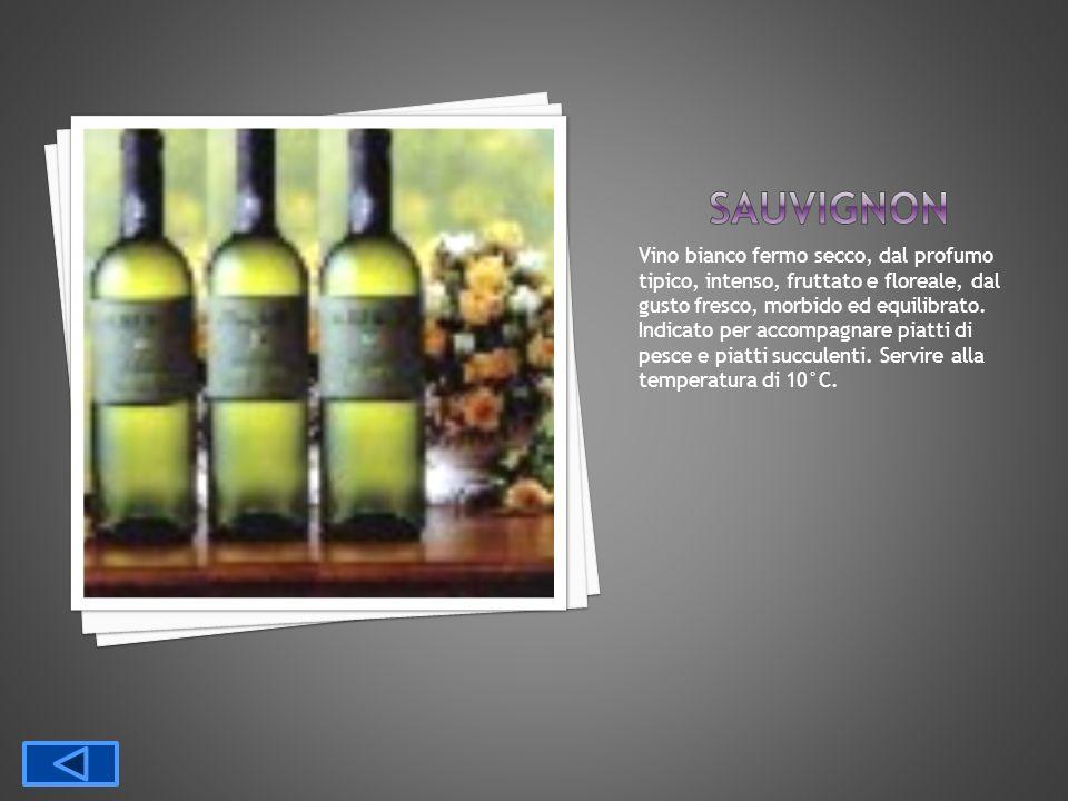 Vino bianco fermo secco, dal profumo tipico, intenso, fruttato e floreale, dal gusto fresco, morbido ed equilibrato. Indicato per accompagnare piatti