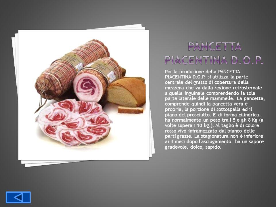 Per la produzione della PANCETTA PIACENTINA D.O.P. si utilizza la parte centrale del grasso di copertura della mezzena che va dalla regione retrostern