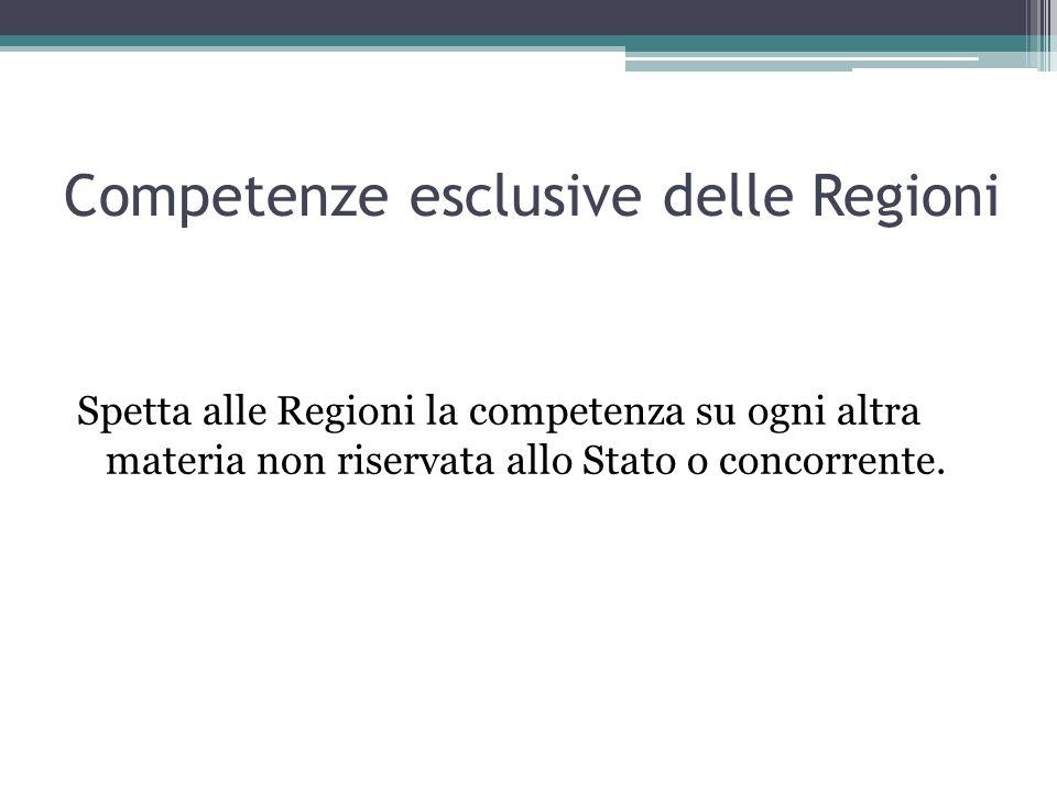 Competenze esclusive delle Regioni Spetta alle Regioni la competenza su ogni altra materia non riservata allo Stato o concorrente.