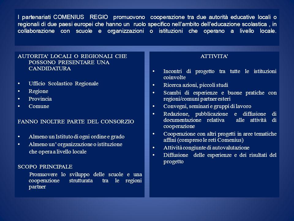 I partenariati COMENIUS REGIO promuovono cooperazione tra due autorità educative locali o regionali di due paesi europei che hanno un ruolo specifico nellambito delleducazione scolastica, in collaborazione con scuole e organizzazioni o istituzioni che operano a livello locale.
