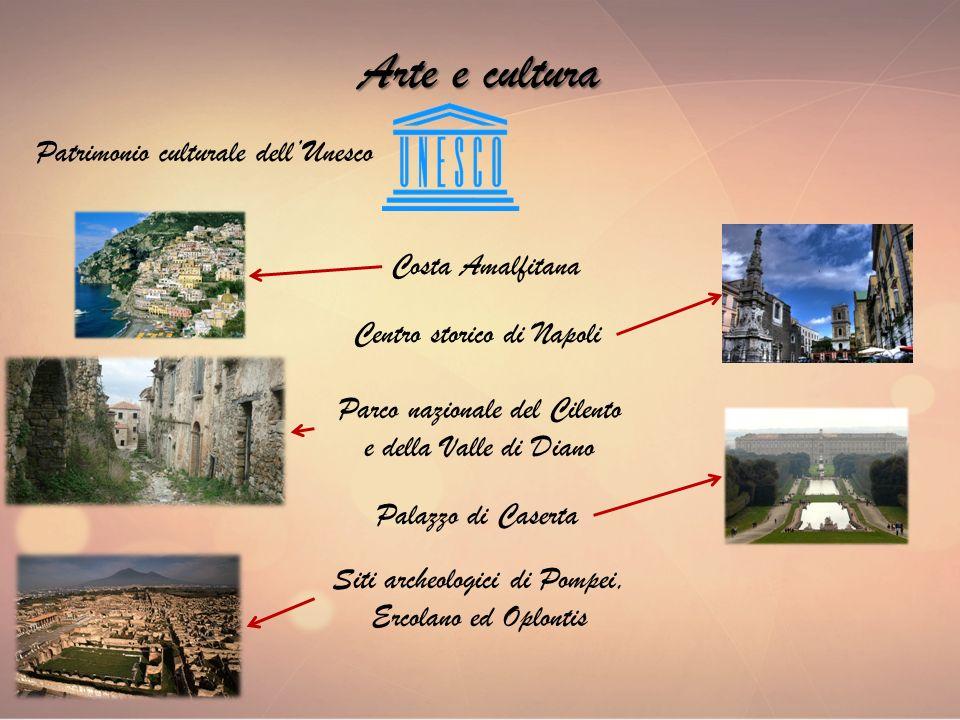 Arte e cultura Patrimonio culturale dellUnesco Siti archeologici di Pompei, Ercolano ed Oplontis Palazzo di Caserta Costa Amalfitana Centro storico di