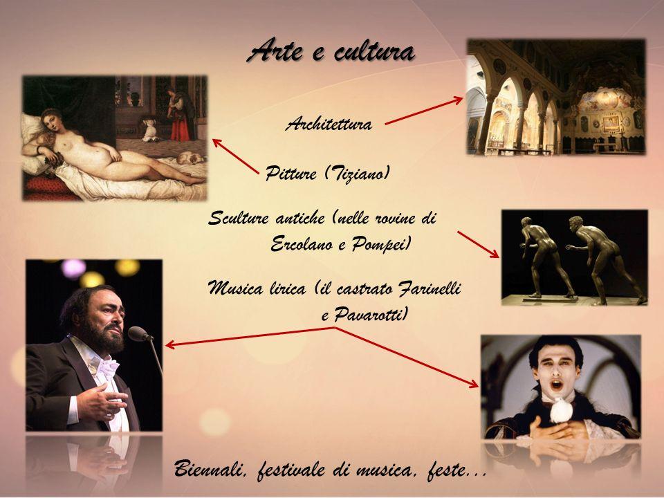 Arte e cultura Architettura Biennali, festivale di musica, feste... Sculture antiche (nelle rovine di Ercolano e Pompei) Pitture (Tiziano) Musica liri