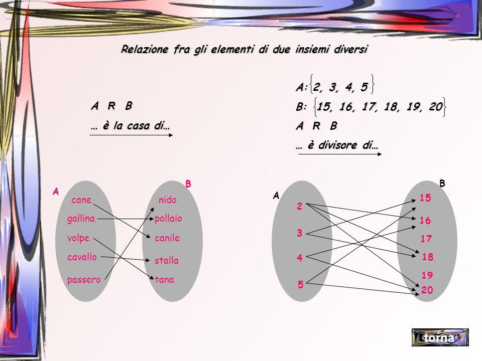 Relazione fra gli elementi di due insiemi diversi A R B … è la casa di… A: 2, 3, 4, 5 B: 15, 16, 17, 18, 19, 20 A R B … è divisore di… cane gallina vo