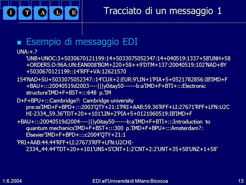 1.6.2004EDI all Università di Milano Bicocca13 Tracciato di un messaggio 1 Esempio di messaggio EDI Esempio di messaggio EDI UNA:+..