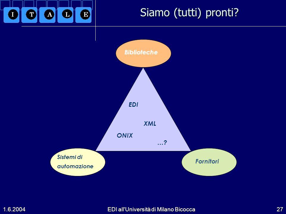 1.6.2004EDI all Università di Milano Bicocca27 Siamo (tutti) pronti.