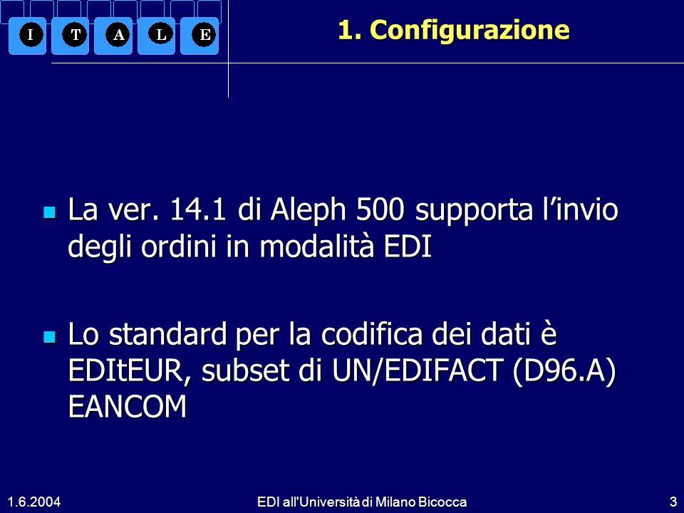 1.6.2004EDI all Università di Milano Bicocca3 1.Configurazione La ver.