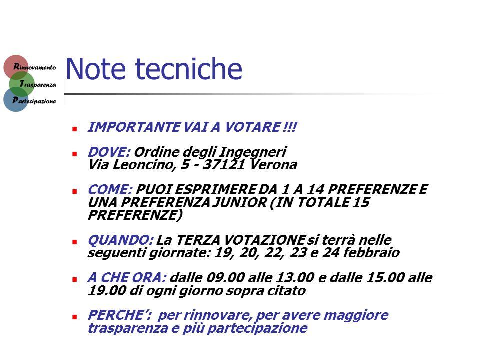 Note tecniche IMPORTANTE VAI A VOTARE !!! DOVE: Ordine degli Ingegneri Via Leoncino, 5 - 37121 Verona COME: PUOI ESPRIMERE DA 1 A 14 PREFERENZE E UNA