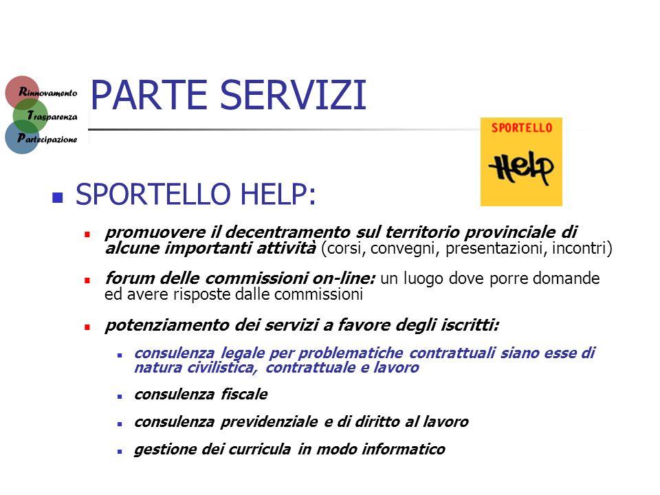 PARTE SERVIZI SPORTELLO HELP: promuovere il decentramento sul territorio provinciale di alcune importanti attività (corsi, convegni, presentazioni, in