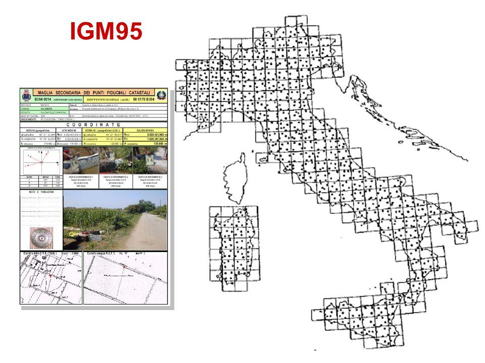 GERARCHIA DELLE RETI GEODETICA (nazionale) DI PRIMO ORDINE = da 20 a 60 km.