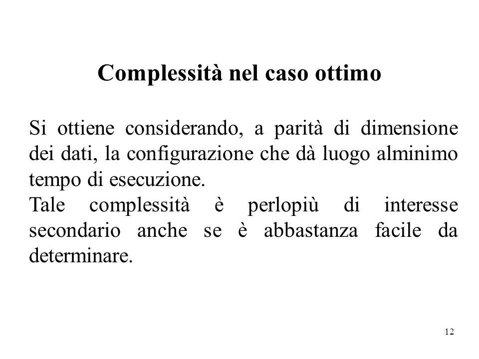 12 Complessità nel caso ottimo Si ottiene considerando, a parità di dimensione dei dati, la configurazione che dà luogo alminimo tempo di esecuzione.